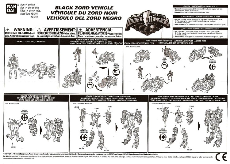 instruction black zord mmpr 2010