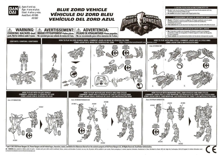 instruction blue zord mmpr 2010