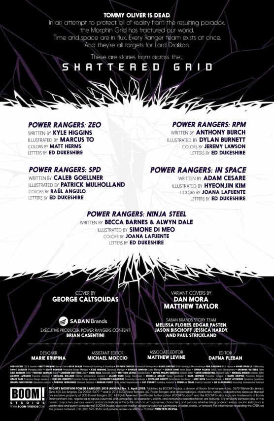 Power-Rangers shattered grid-Writers-Illustator-Page