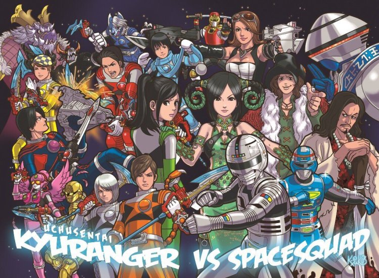 Illustration bluray Kyuranger vs Space Squad