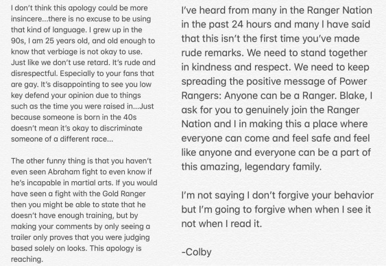 reponse d'excuse de Colby à Blake 1-2