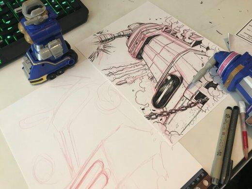 Matt utilise certaines références pour en dessiner quelques-unes pour le ZeoZords